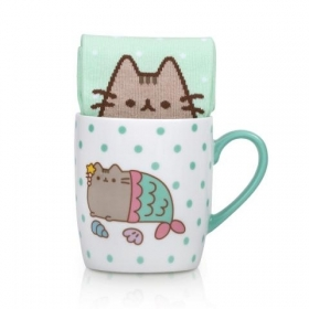Pusheen sock in a mug – mermaid