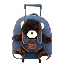 Removable trolley/backpack with removable mascot bear