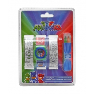 PJ Masks wrist watch + colouring watch straps set