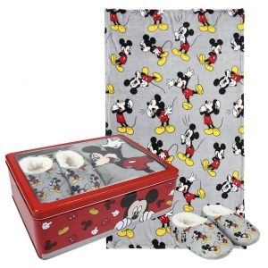 Mickey Mouse fleece blanket, slippers and metal box gift set