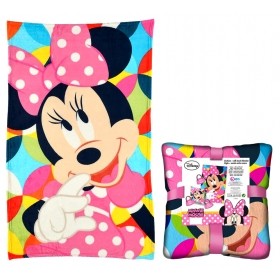 Minnie Mouse coral blanket and cushion set