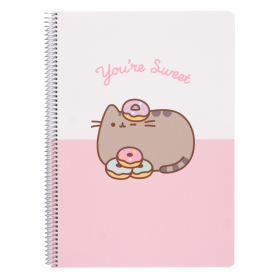 Pusheen Notebook a4 polypropylene 4x4 cover  rose collection