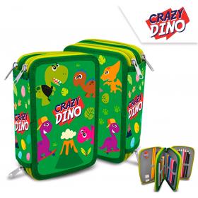 Crazy Dino three-chamber pencil case